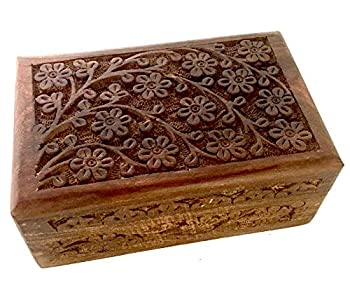 New Age Imports Inc Gift Ideas~ Floral Carved Handmade Wooden Box 4 inches by 6 inches~Ideal for Storing Jewelry Coins Tartot Cards Small Treasures URN Box & etc  Floral Carved 4 x6