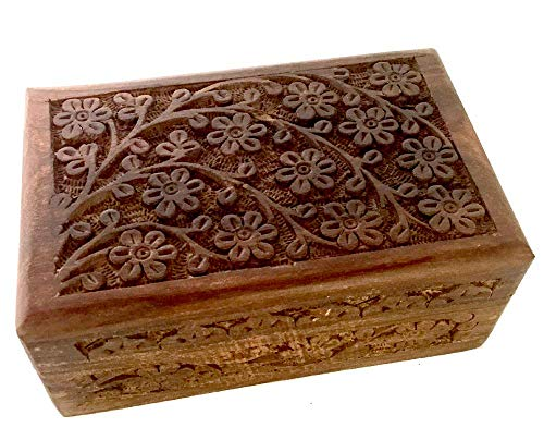 New Age Imports, Inc. Gift Ideas~ Floral Carved Handmade Wooden Box 4 inches by 6 inches~Ideal for Storing Jewelry, Coins, Tartot Cards, Small Treasures, URN Box & etc (Floral Carved 4x6)