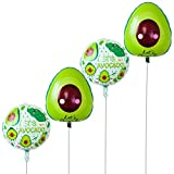 LUOEM 4Pcs Foil Balloons Avocado Pattern Mylar Helium Balloons Birthday Party Decorations (Round2 and Oval2)