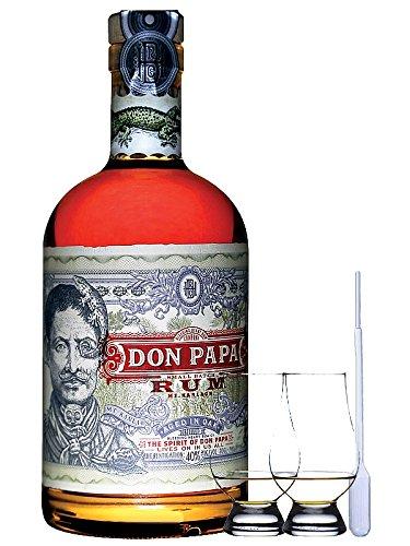 Don Papa Philippinen Rum 0,7 Liter + 2 Glencairn Gläser und Einwegpipette
