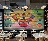 Vlies Fototapete Graffiti Holz Graffiti Art Wand-Dekoration Moderne Motiv-Tapete Bild Design 3D Panorama Foto - 150x105CM-L