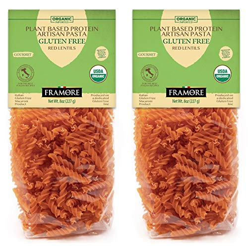 FRAMORE Organic Gluten Free Fusilli Red Lentil Plant Based Pasta Italian eight ounce pack caso of two Authentic Gourmet Artisan Made Imported from Italy Apulia dried in a Bag Veggie Vegan Dry Macaroni