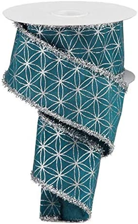 Gift Wrapping Crafting Teal, 2.5 Floral Arrangements Wired Ribbon Christmas Stars with Tinsel Fringe for Wreaths
