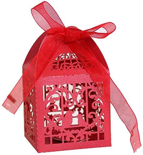 Hinleise Cajas De Recuerdos De Boda para Decoración De Pájaros De Corte Hueco, con Cinta, Cajas De Regalo para Dulces, Bolsas para Baby Shower, Bodas, Cumpleaños, Fiestas, Rojo (100 Piezas)