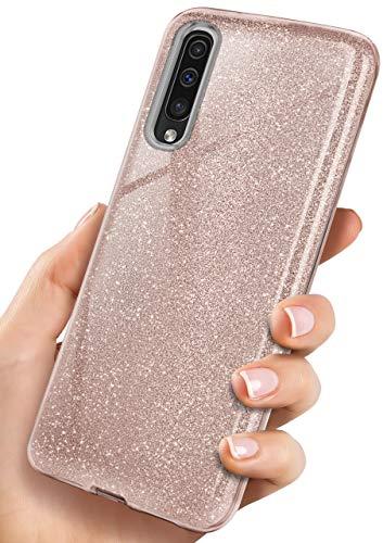 OneFlow Cover Glitterata Compatibile con Samsung Galaxy A50 / A30s | Rivestimento antiabrasione, Rosa Dorato