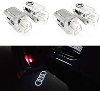 4 Pcs Double Interface Design Car Door LED Logo Projector Ghost Shadow Lights Compatible With Audi A4 A3 A6 Q7 Q5 A1 A5 TT A8 Q3 A7 R8 RS