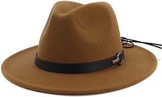 LaVintageエレガントウィンターウールフェドラ 男性女性Fedora帽子付きレザーベルトポップパナマジャズハット広いつばの帽子カジュアル帽子ウェディングパーティー帽子 女性の女の子の夏の麦わら帽子 (色 : コーヒー, サイズ : 56-58)