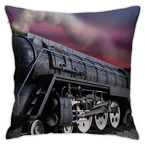 XCNGG Funda de Almohada Funda de cojín de Almohada para el hogar Ropa de Cama Throw Pillow Case, Steam Train Pillow Cover, Decorative Pillowcase Square Cushion for Sofa Couch Car 18x18