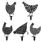 Crovida 5 Stück Set Gartenstecker Schwarze Henne Gartendeko Figur Hühnerpfähle Acryl Hühner Hühnerfamilie Hahn Hohles Design Aussen Hof Art Stand Dekoration Wetterfest