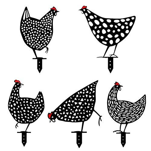 Crovida 5 Stück Set Gartenstecker Schwarze Henne Gartendeko Figur ,Hühnerpfähle Acryl Hühner Hühnerfamilie Hahn Hohles Design,Aussen Hof Art Stand Dekoration Wetterfest