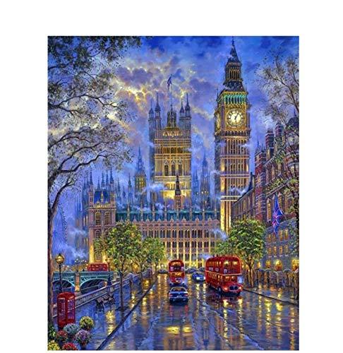 WACYDSD Puzzle 3D Puzzle 1000 Piezas DIY Envío Londres Big Ben Paisaje Imagen Sala Decoración De Lino