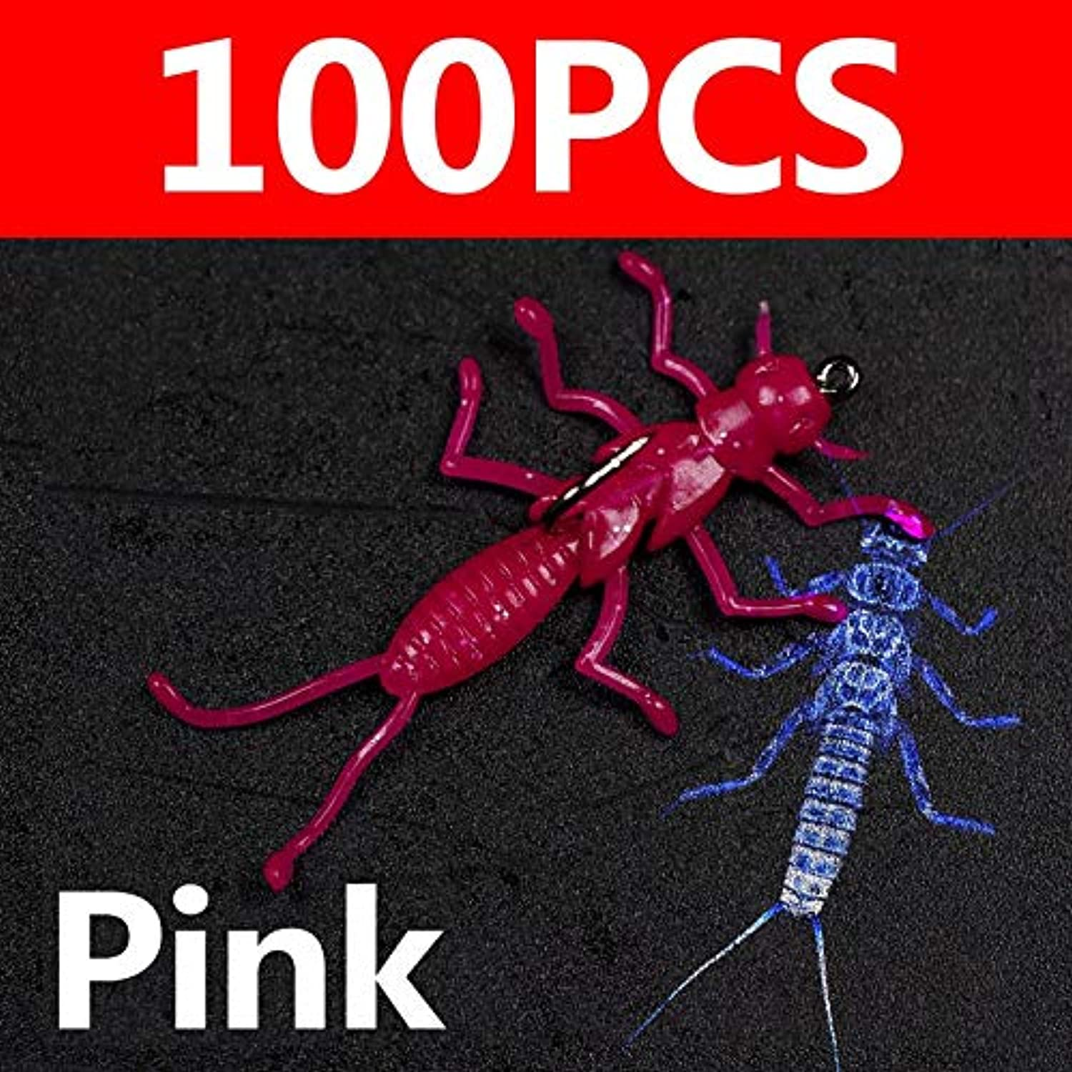 Generic Bimoo 100PCS Soft Stonefly Lure Bait for Crappie Trout Fishing Small Insect Fishing Lure with Hook Pan Fish Fishing 100pcs Pink