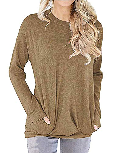 CHICGAL Womens Pullover Sweatshirts Long Sleeve Tshirts Casual Loose Tunics Tops with Pocket (Khaki,M)