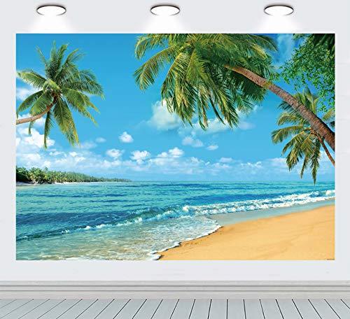 INRUI Fondo de fotografía de playa tropical, palmeras de verano, telón de fondo azul mar cielo sol Luau temático decoración de fiesta