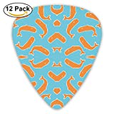 Bright Orange Whales On Blue Wallpaper Guitar Picks For Electric Guitar 12 Pack