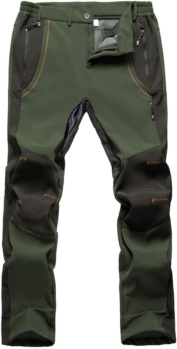 Gash Hao Mens Snow Ski Pants Waterproof Insulated Snowboard Pants Breathable Mesh Fleece Lined Zipper Bottom Ankle