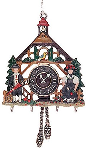 Pinnacle Peak Trading Company 3D Cuckoo Clock German Pewter Christmas Ornament Decoration Made in Germany