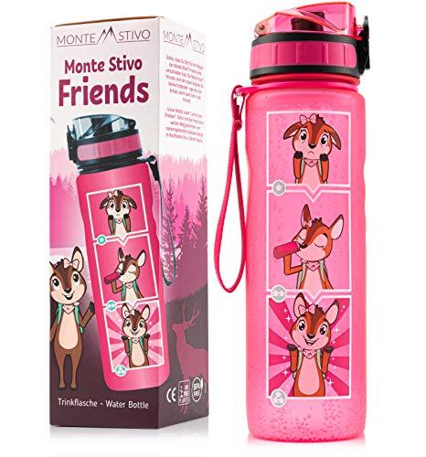 Monte Stivo® Friends Trinkflasche für Kinder 600ml   Motivierende Trinkskala BPA-Frei Auslaufsicher Kohlensäure geeignet   Geschenk für Schule & Freizeit