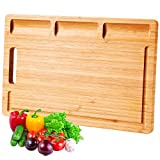 InnoStrive Cutting Board 100% Organic Bamboo Cutting Board For Kitchen Durable Chopping Board For Meats Bread Fruits With Deep Juice Croove (15 x 10 x 0.75 inches)
