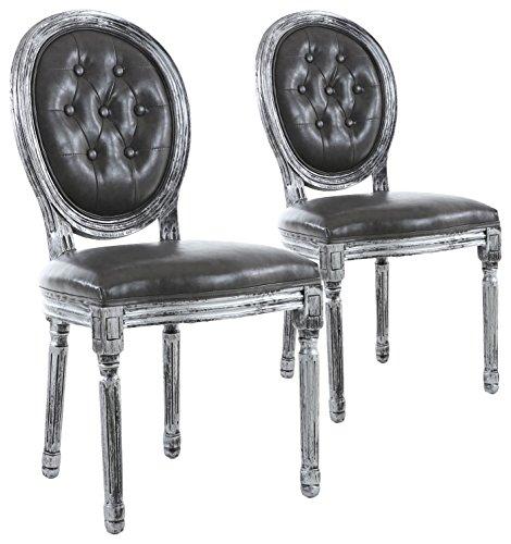 menzzo–Set di 2sedie di stile Medaglione Louis Xvi Capitonnè, legno, legno nero patinato argento e finta grigio, 51x 51x 72cm
