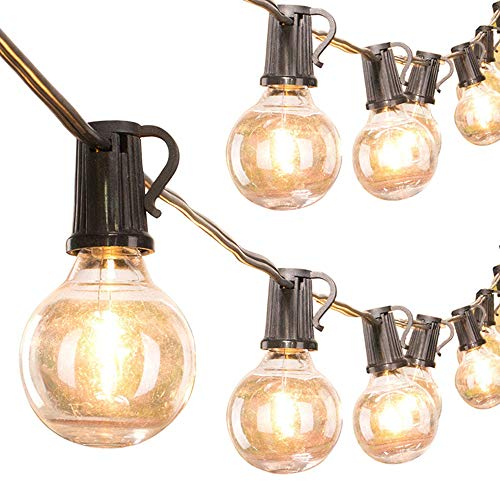Outdoor Garden String Lights, 25ft G40 25 Bulbs Decorative Retro Globe Festoon Hanging Light Waterproof Atmosphere Lamp with 3 Spare Bulbs for Garden Patio Terrace Party Xmas [Energy Class A+]