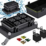 12V Auto Waterproof Fuse Relay Box Block Kit [6 Bosch Style Relay Holder] [6 ATC/ATO Fuse Holder] [Relays & Fuses Included] Universal Relay Block Box for 12V Automotive Vehicles Cars Marine Boat Jeep