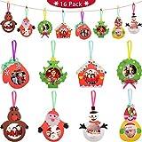 Blulu 16 Piezas Adornos de Foto de Navidad Juego de Adorno de Foto Recuerdo Imagen de Arte para Decoración de Muñeca de Nieve Árbol Papá Noel de Navidad de Bricolaje de Familia