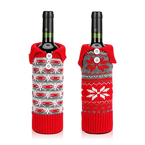 2Pcs Christmas Wine Bottle Bags, Button Snowflake Knitted Red Wine Bottle Cover Set, Christmas Decoration Champagne Red Wine Bag for Christmas Festival Party Table Decor