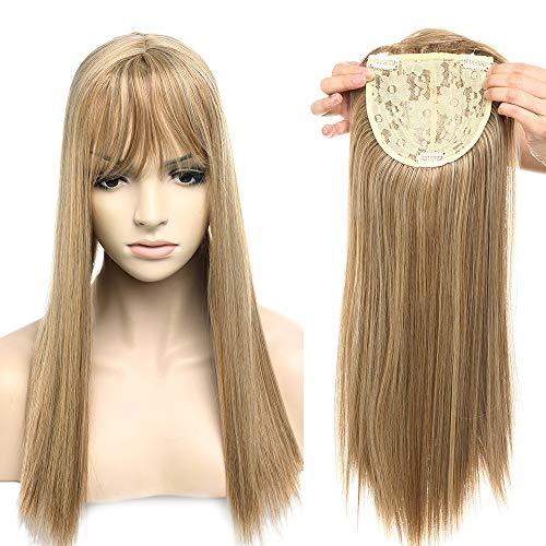Clip in Extensions Haarteil Topper Toupet wie Echthaar Perücken mit 3 Clips für Frauen Glatt Ash Brown & Golden Blonde 17