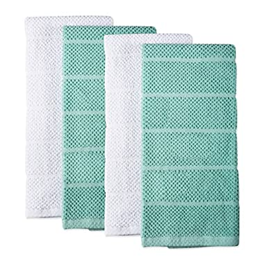 DII 100% Cotton Ultra-Absorbent Cleaning Drying Luxury Chef Terry Dish Towels for Everyday Kitchen Basic 16 x 26 Set of 4- Aqua/White