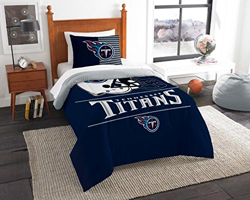 "NORTHWEST ENTERPRISES Tennessee Titans - 2 Piece Twin Size Printed Comforter Set - Entire Set Includes: 1 Twin Comforter (64""x86"") & 1 Pillow Sham - NFL Football Bedding Bedroom Accessories"