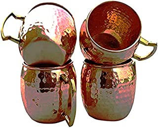 Handcrafted Hammered Copper Moscow Mule Mugs Solid Pure Copper Unlined Mug Cup Capacity 16 Ounce Set of 4