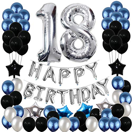 18th Birthday Decorations, 18th Birthday Party Pack 18th Birthday Gifts include Silver Number 18 Balloons Suitable for Girls Boys Women Men(80 Pack Party Supplies)