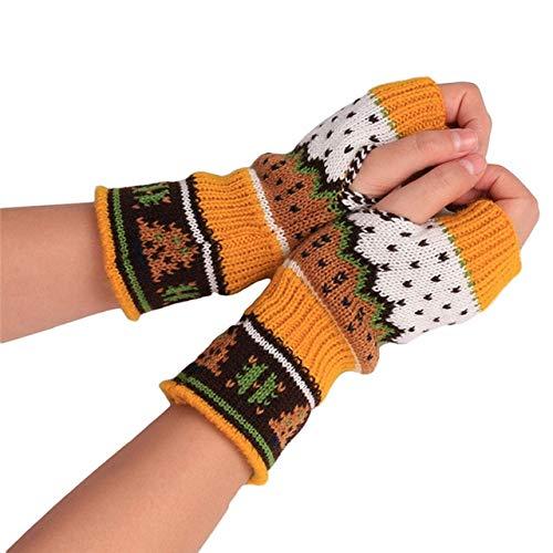 Guantes de Mano Largos de Punto Guantes de Invierno Bordados cálidospara Mujer Guantes sin Dedos para Mujer niña - Amarillo 6
