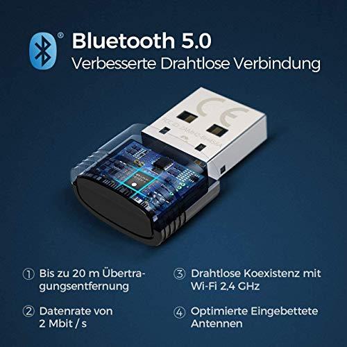 Mpow Bluetooth 5.0 USB Adapter, Bluetooth USB Dongle Stick, Bluetooth Empfänger und Sender für Desktop, Laptop, Drucker, Headset, Lautsprecher, kompatibel mit Windows 7/8.1/10