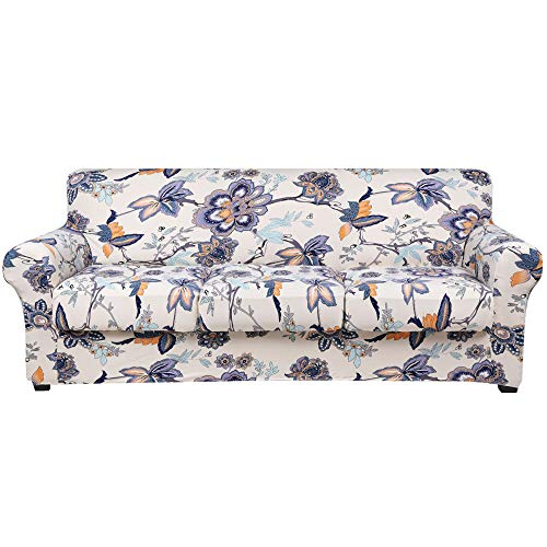 hyha Printed Couch Cover for 3 Cushion Couch - Floral Pattern Sofa Cover with Separate Cushion Cover, 4 Pieces Stretch Sofa Slipcover Washable Furniture Protector (Sofa, Vintage Flower)