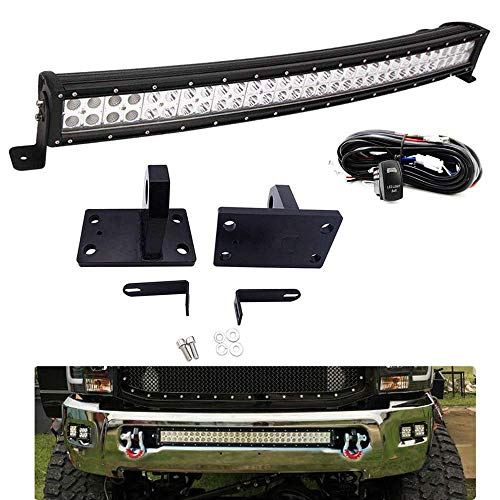DaSen Front Bumper Grille 32' 180W Curved LED Light Bar Mount Brackets Kit w/Heavy Duty Tow Hooks & Wiring Harness Compatible with 2010-2020 RAM 2500/3500/4500 4th Gen