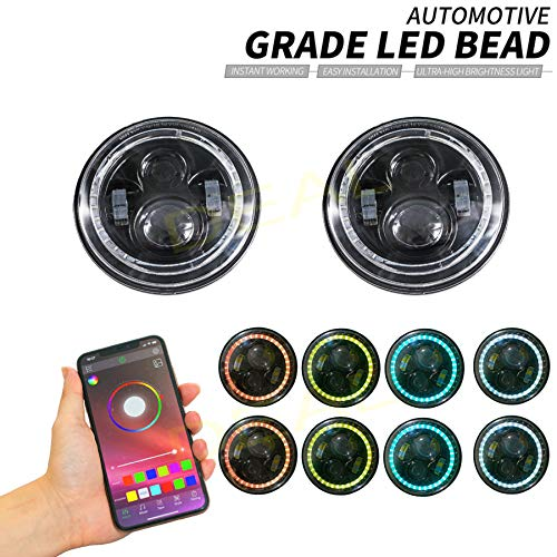 "DEAL 2x 7"" 60W Bluetooth Controlled Round RGB Halo Ring LED Headlights Fit For Any Models With 6012/6014 / 6015 / H6017 / H6024 Round Sealed Beam Headlights"