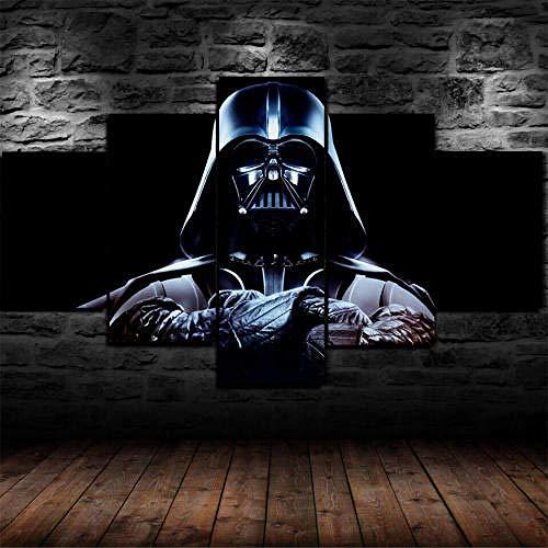 Pintura Sobre Lienzo 5 Piezas Cuadro Sobre Lienzo-Modernos Mural-Impresión En Lienzo-Listo Para Colgar-Decoración Hogar Arte Cuadro En Lienzo Regalo Navidad Star Wars Darth Vader Sith 200X100Cm