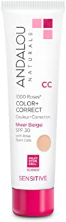Andalou Naturals 1000 Roses CC Color + Correct with SPF 30, Sheer Beige, 2 Ounces