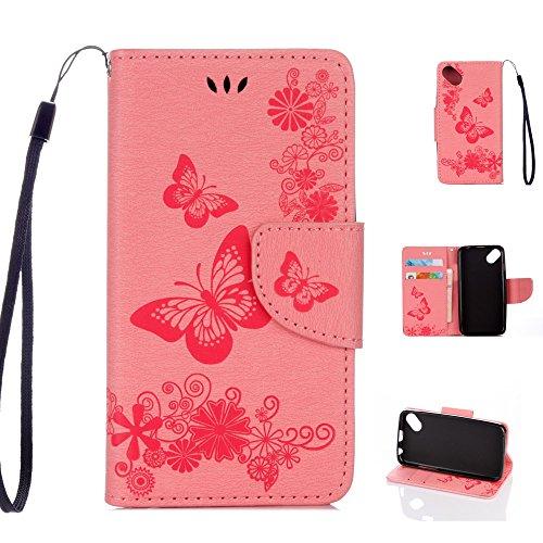 Wiko Sunny Handyhülle Book Hülle Wiko Sunny Hülle Klapphülle Tasche im Retro Wallet Design mit praktischer Aufstellfunktion - Etui in Rosa
