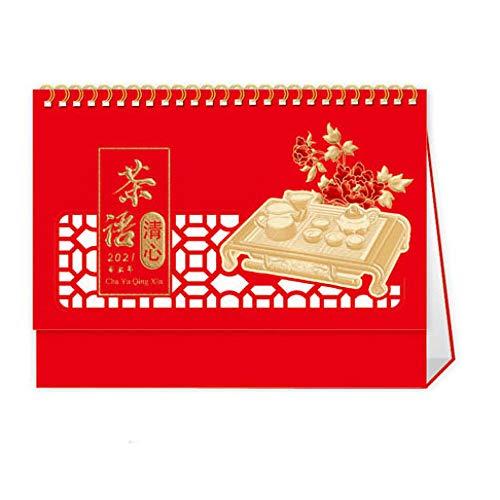 Calendario Semanal de Mesa Chinos Año Nuevo 2021 Calendaris 2021 para el Año Lunar del Buey,23x8x17.5cm,Patrón de Juego de Té Chino Cortado en Papel Calendario Vacaciones para 2021 Año Nuevo Chino Su