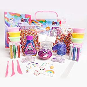 Unicorn Slime Kit for Girls, Slime Kit for Girls, 12 Fluffy Slime Rainbow Colors, 3 Galaxy Slime, Poop Emoji, 2 Snow, DIY Add-ins, Charms, Glitter, Sequins, Foam Balls, 45 Pieces, Ages 7-12, Kids Gift