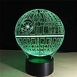 Lámpara de ilusión 3D, lámpara de estrella de la muerte 3D, lámpara de mesa de cambio de color 7, interruptor táctil