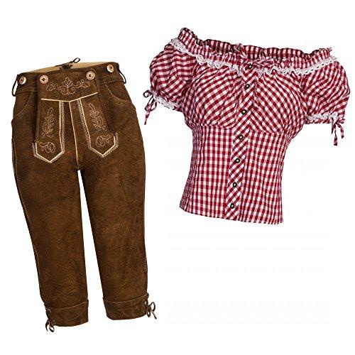 Gaudi-Leathers Damen Set Lederhose Kniebund hellbraun 42 + Carmenbluse Rot 46
