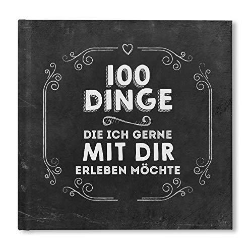 bigdaygraphix 100 Dinge Buch blanko Partnerbuch Paargeschenk Partnergeschenk Geschenkidee Erlebnisbuch zum Ausfüllen Erinnerung Chalkboard schwarz