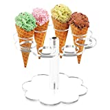 YestBuy Ice Cream Cone Holder Stand Cupcake Stand with 8 Holes Capacity Clear Clear Acrylic Cone Display Stand Weddings Baby Showers Birthday Parties Anniversaries Christmas Candy Decorative