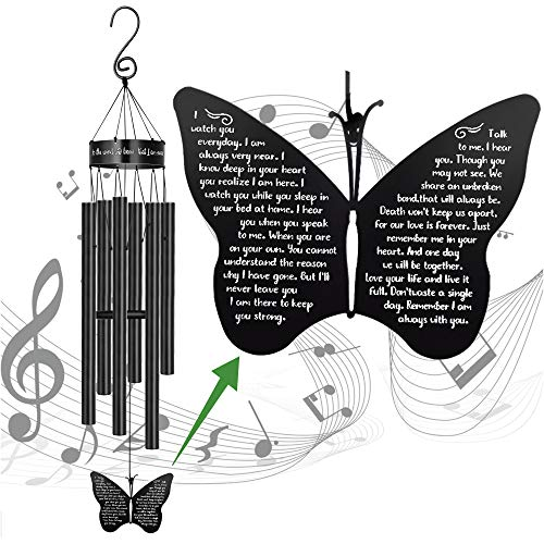 Memorial Butterfly Wind Chimes for Loss of Father Mother Wife Bereavement Sympathy Gift of Love One Mom Dad Daughter Outdoor Large Chimes for Patio Garden Porch Yard Black