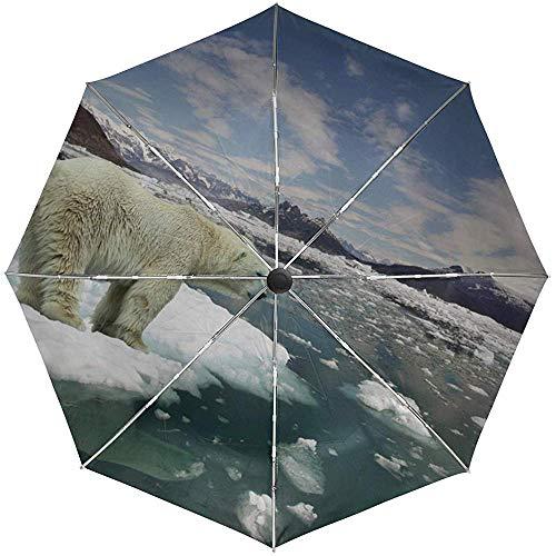 Automatischer Regenschirm Bär Eisbär EIS Schnee Kalt Reise Bequem Winddicht Wasserdicht Falten Auto Öffnen Schließen