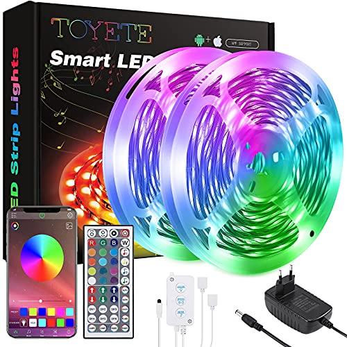 Striscia LED 20 Metri,Toyete Luci LED Colorate RGB SMD 5050 12V Strisce LED con APP Bluetooth e 44 Tasti Telecomando,Funzione Musicale & Luminosità Regolabile Nastri Led Per Cucina, Bar, Feste